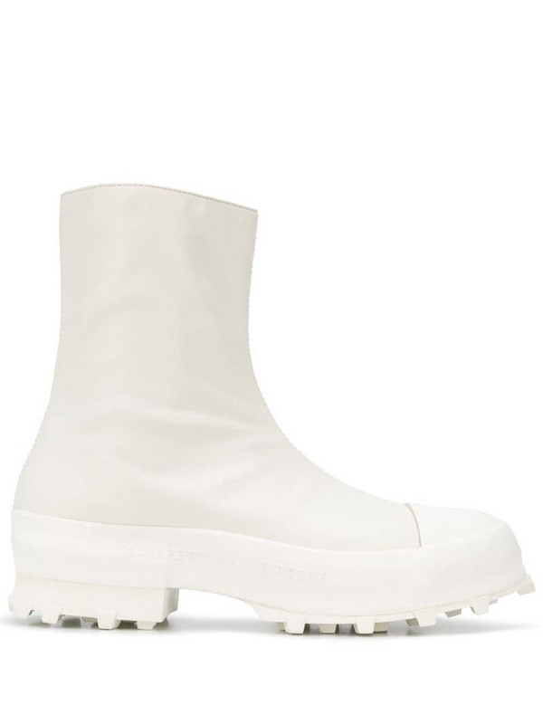 CamperLab Traktori zipped ankle boots in white