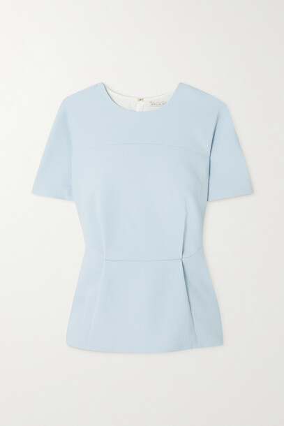 Emilia Wickstead - Reed Crepe Peplum Top - Blue