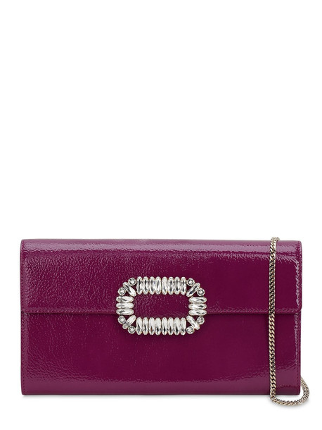 ROGER VIVIER Sexy Choc Crystals Patent Leather Clutch in magenta