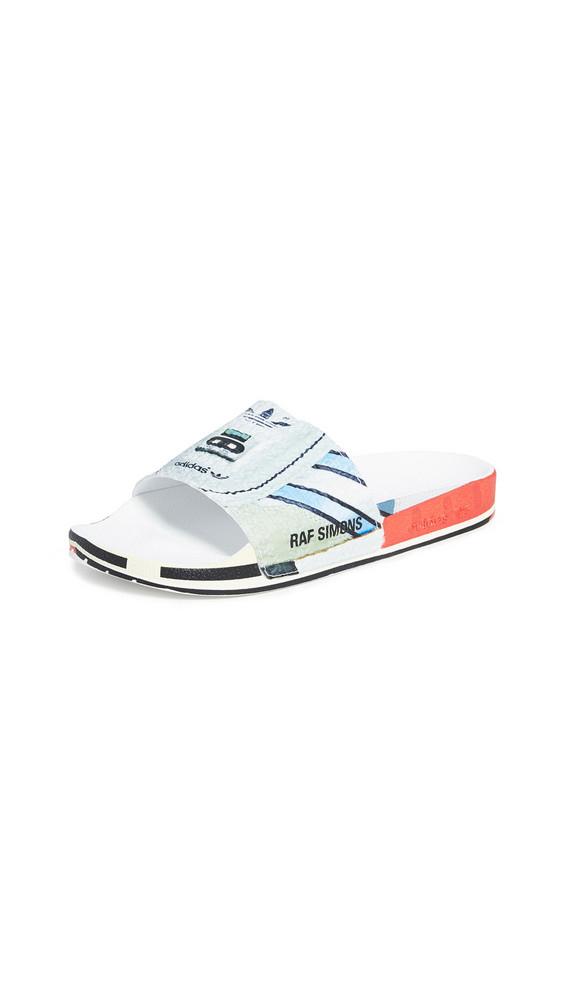 adidas Raf Simons Micro Adilette Slide Sandals in red / silver / multi