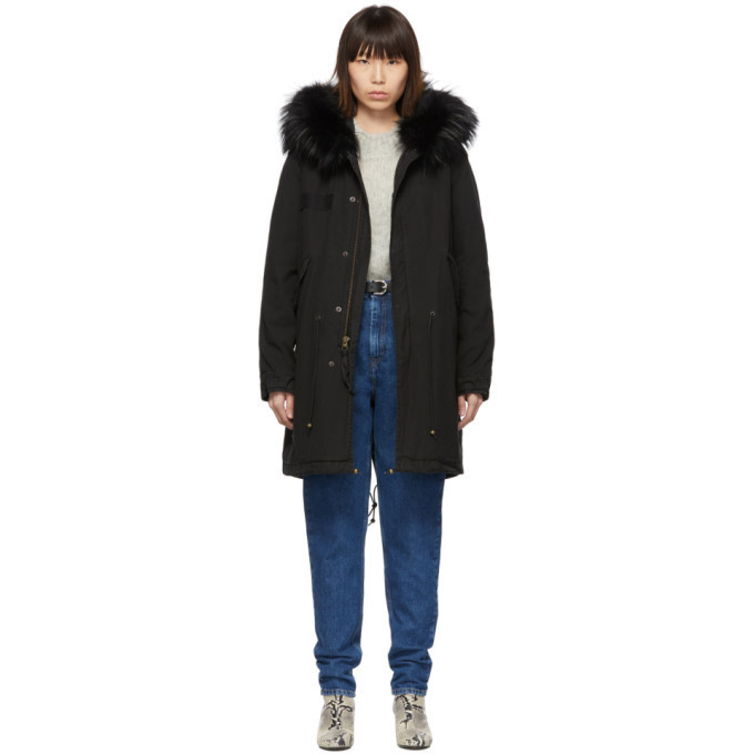 Mr and Mrs Italy Mr & Mrs Italy Black Long Fur Army Parka