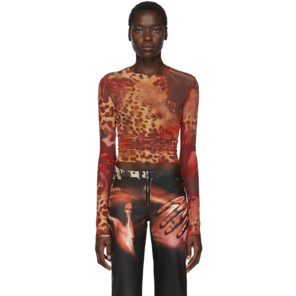 Mowalola SSENSE Exclusive Brown and Orange Skin Mesh Top