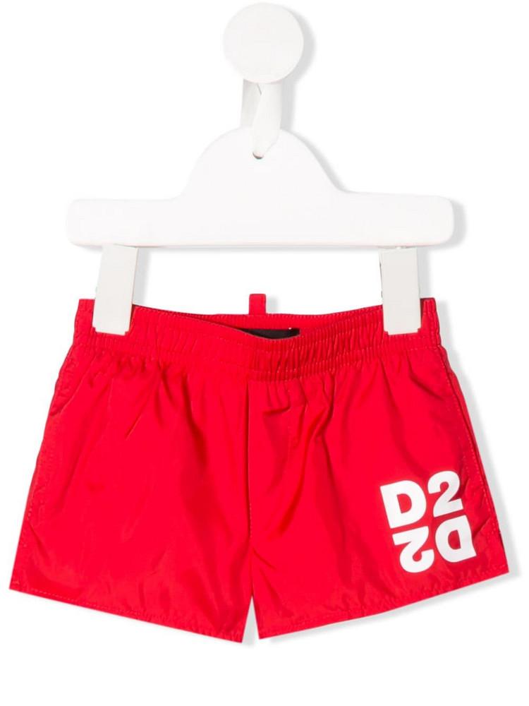 Dsquared2 Kids D2 logo swim shorts in red