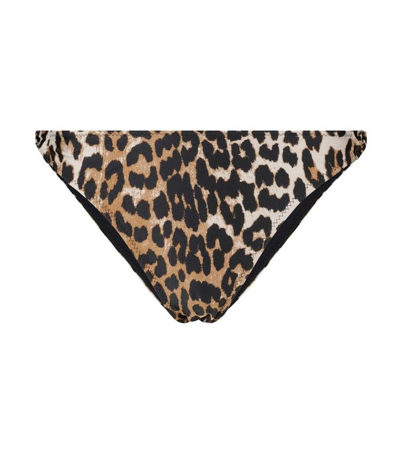 Ganni Leopard-print bikini bottoms in beige