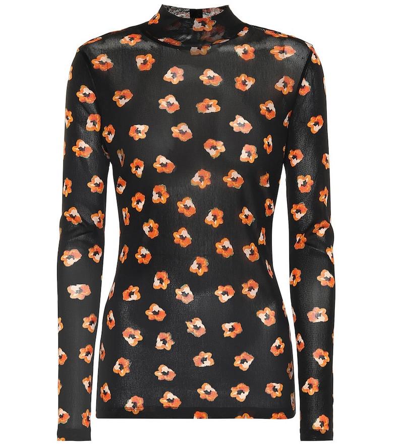 Diane von Furstenberg Remy floral mesh top in black