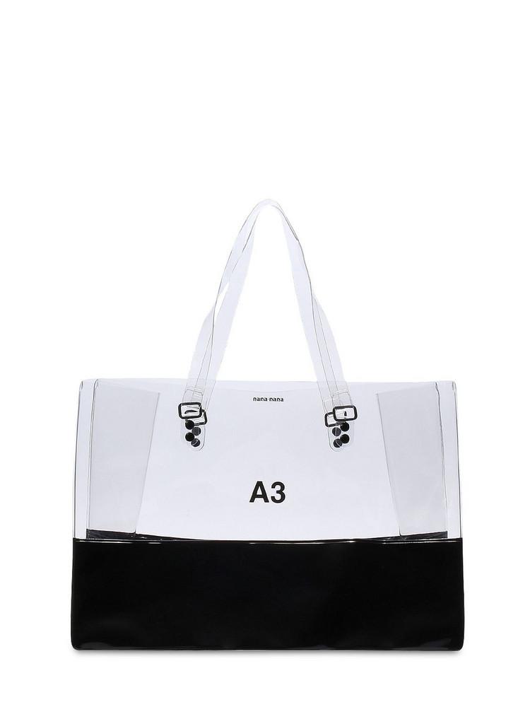 NANA NANA A3 Pvc Shopping Tote Bag in black / transparent