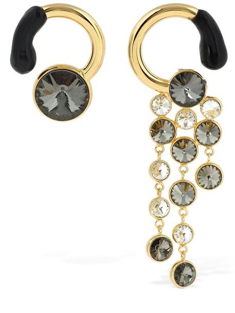 SUNNEI Crystal & Rubber Asymmetrical Earrings in black / gold
