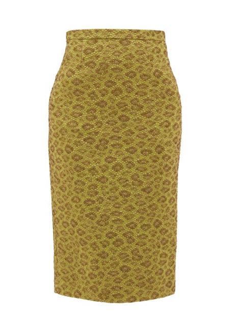 Rochas - High-rise Floral-cloqué Midi Skirt - Womens - Green