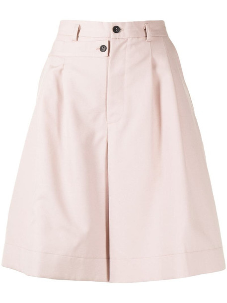 Delada double-waistband wool-blend shorts in pink