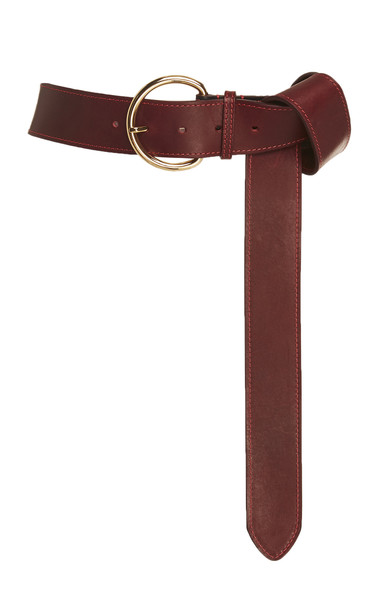 Carolina Herrera Leather Belt in burgundy
