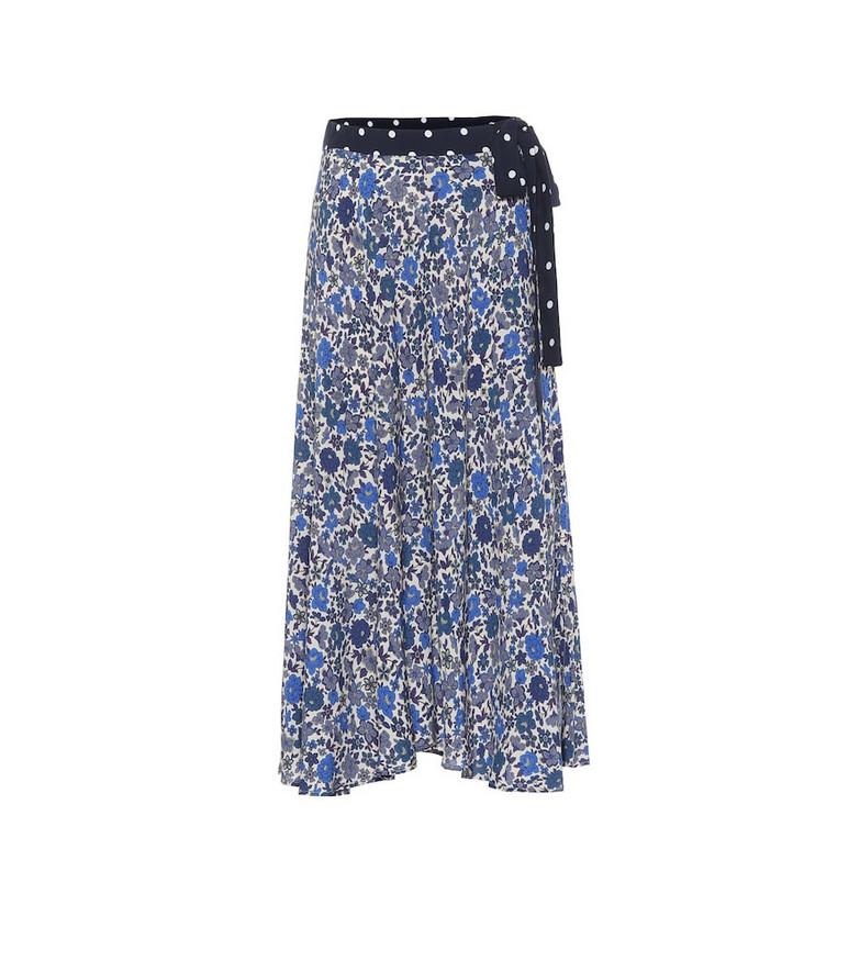 Velvet Floral midi skirt in blue