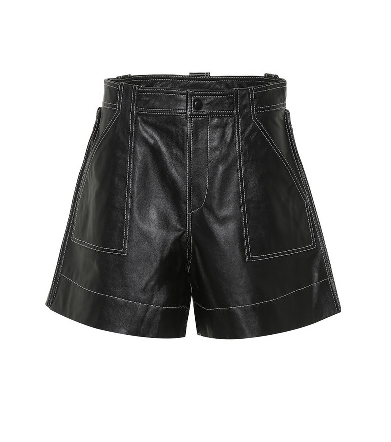 Ganni Leather high-rise shorts in black