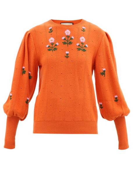 Gucci - Floral-embroidered Wool-blend Sweater - Womens - Orange