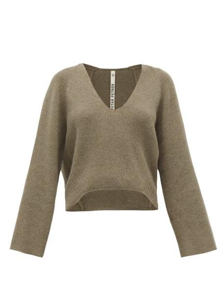 Petar Petrov - Keeene V-neck Cropped Cashmere Sweater - Womens - Light Grey