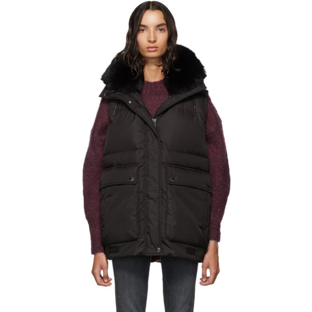 Yves Salomon - Army Black Down and Fur Nylon Vest