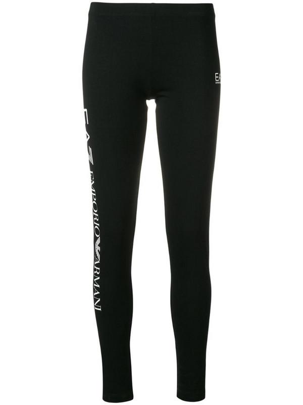 Ea7 Emporio Armani logo print leggings in black