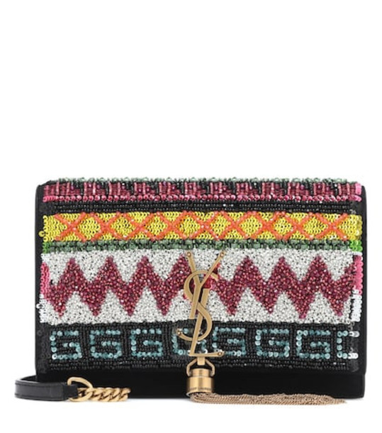 Saint Laurent Kate embellished leather shoulder bag in black