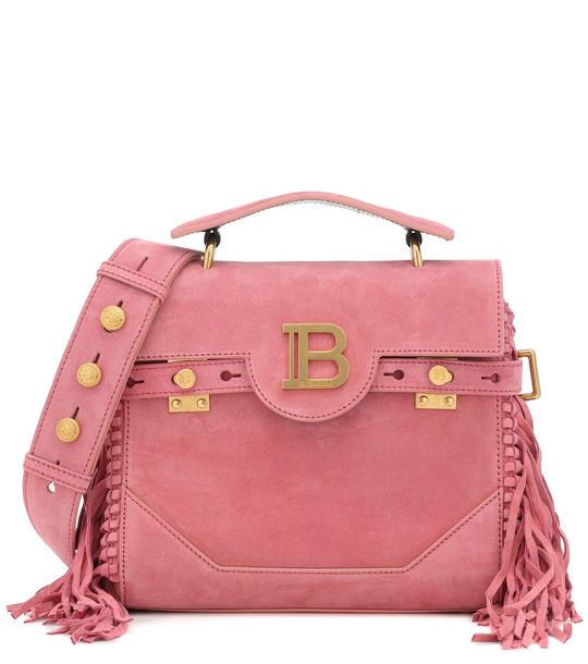 Balmain B-Buzz 23 fringed suede tote in pink