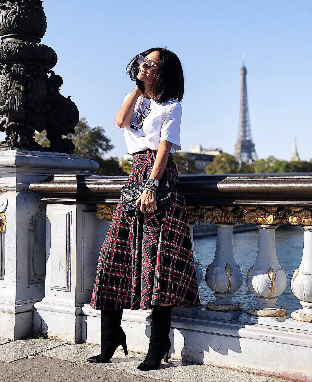 bf2b7fd6 skirt, plaid skirt, midi skirt, black boots, knee high boots, black ...