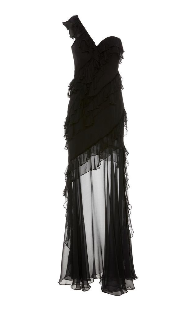 AMUR Harlow One-Shoulder Silk Gown in black