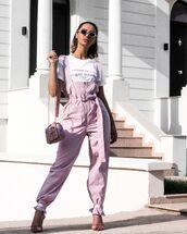 jumpsuit,pink,sandal heels,bag,white t-shirt