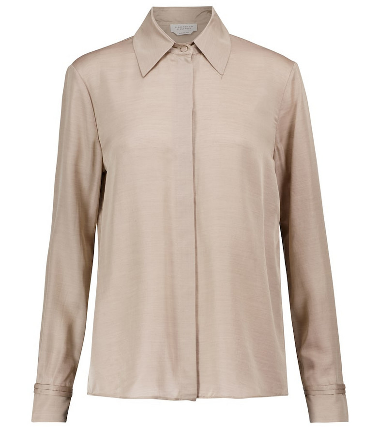 Gabriela Hearst Jaq silk and cashmere shirt in beige