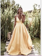 dress,prom,prom dress,yellow,gown,v neck,a line dress