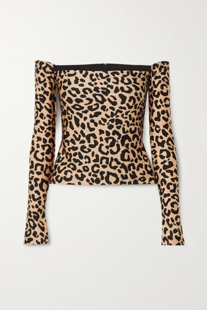 Halpern - Off-the-shoulder Leopard-print Stretch-jersey Top - Leopard print