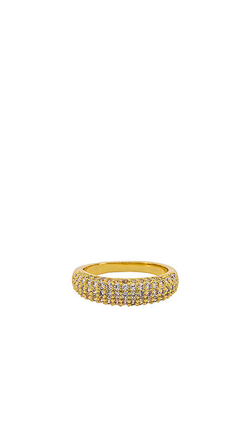 Luv AJ The Pave Tube Ring in Metallic Gold