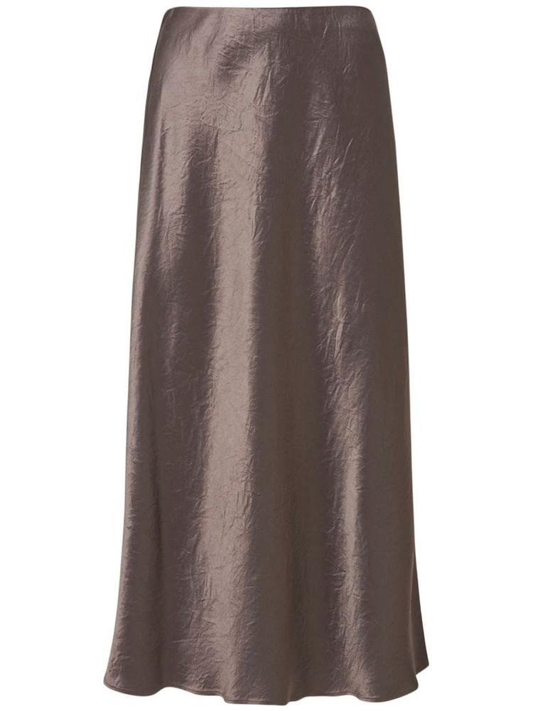 MAX MARA Flared Satin Midi Skirt in brown