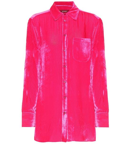 Sies Marjan Sander stretch velvet shirt in pink