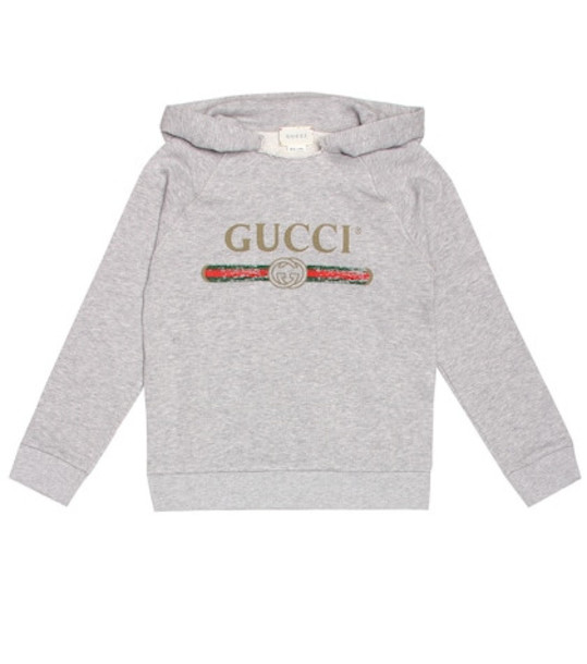 Gucci Kids Logo cotton hoodie in grey