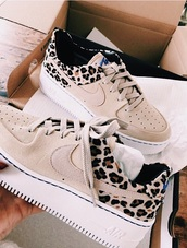 shoes,nike,leopard print,tan with cheetah,nike shoes,tan cheetah nike,nike running shoes,nike air force 1