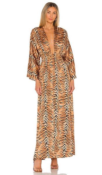 MISA Los Angeles Bardot Dress in Brown in multi