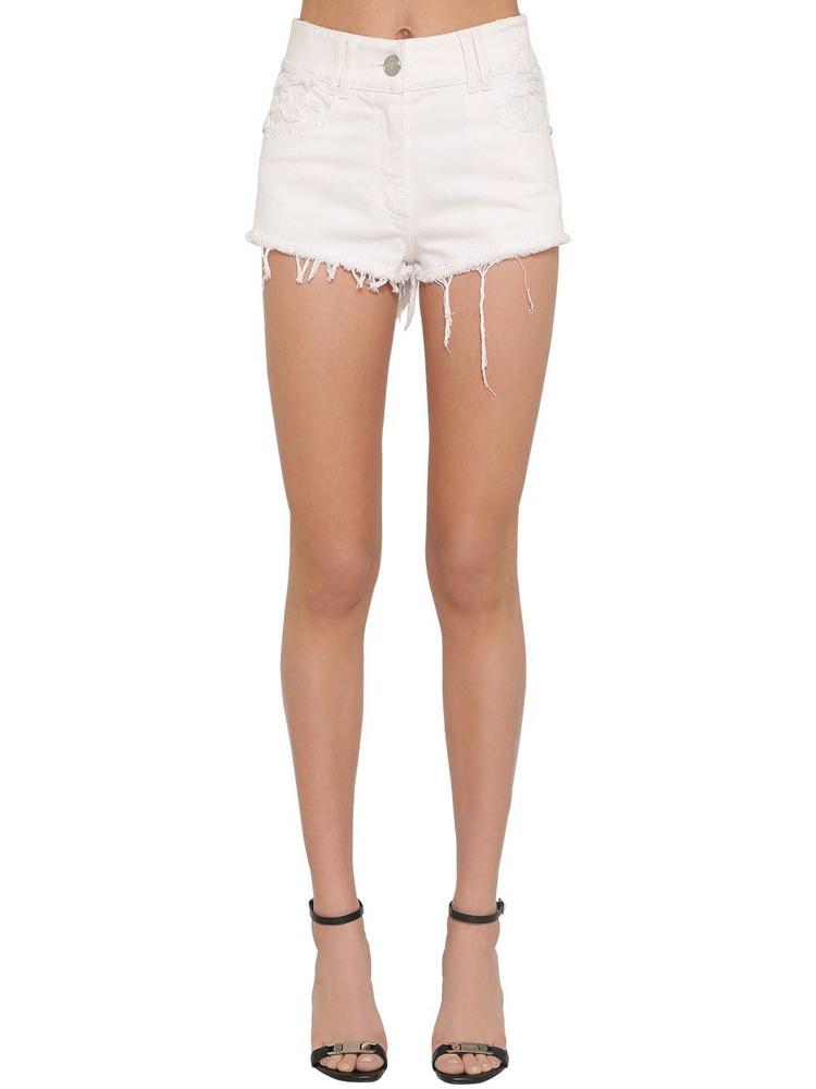BALMAIN Destroyed Cotton Denim Shorts in white