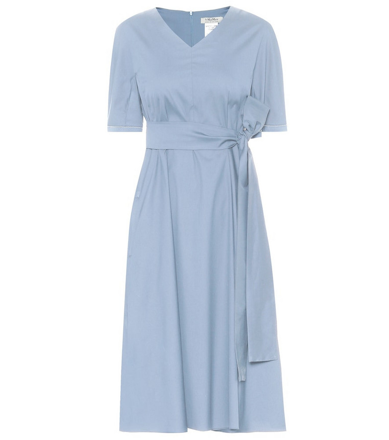 S Max Mara Lea cotton-blend midi dress in blue