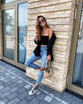 jeans,ripped jeans,high waisted jeans,sneakers,black blazer,crop tops