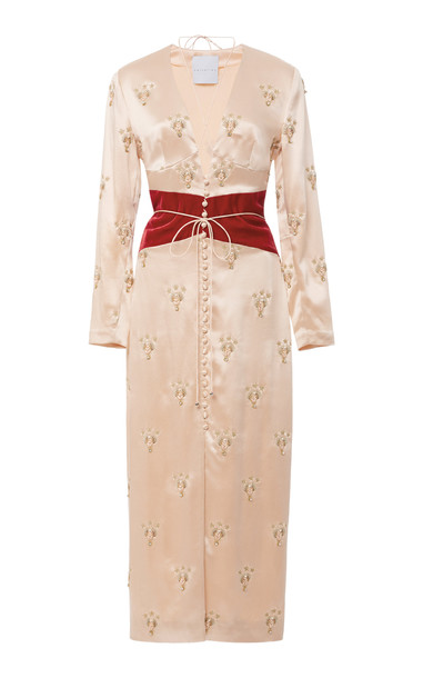 Markarian M'O Exclusive Ramesses Scarab Gemini Silk Dress in pink