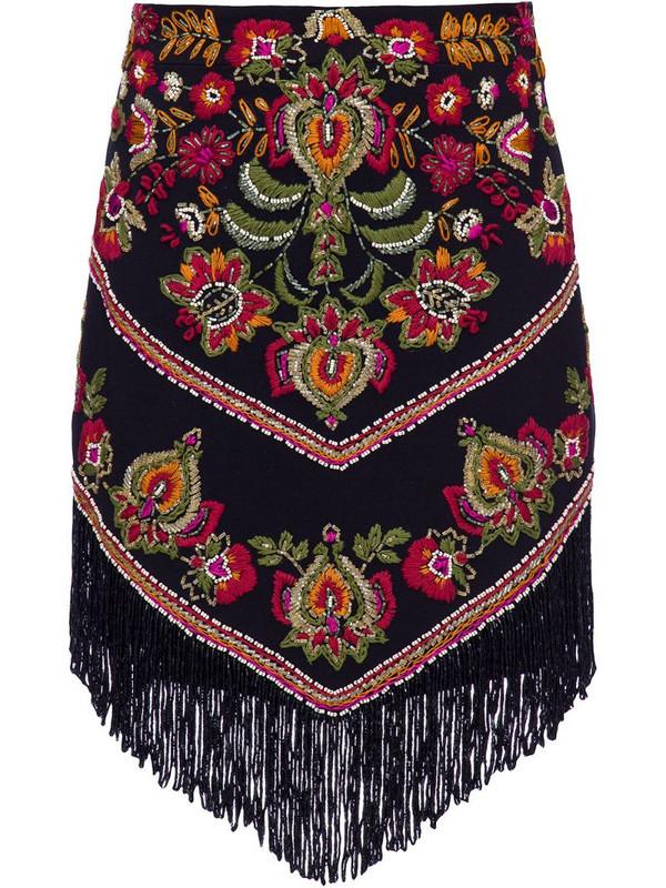 PatBO embroidered fringe mini skirt in black