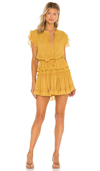 MISA Los Angeles Lilian Dress in Mustard in saffron