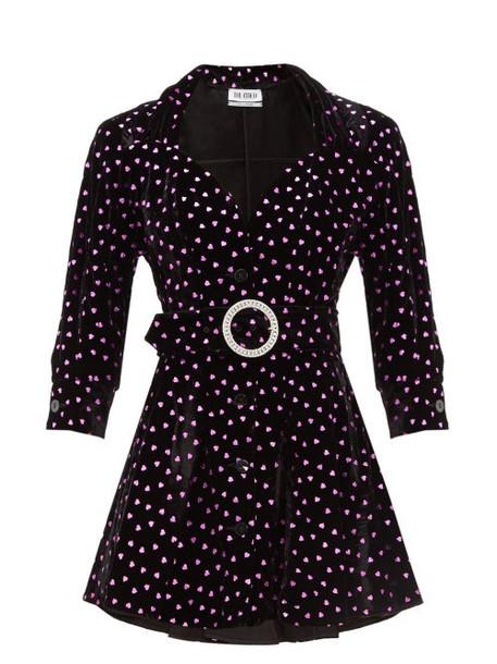The Attico - Lamé Hearts Velvet Mini Dress - Womens - Black Multi