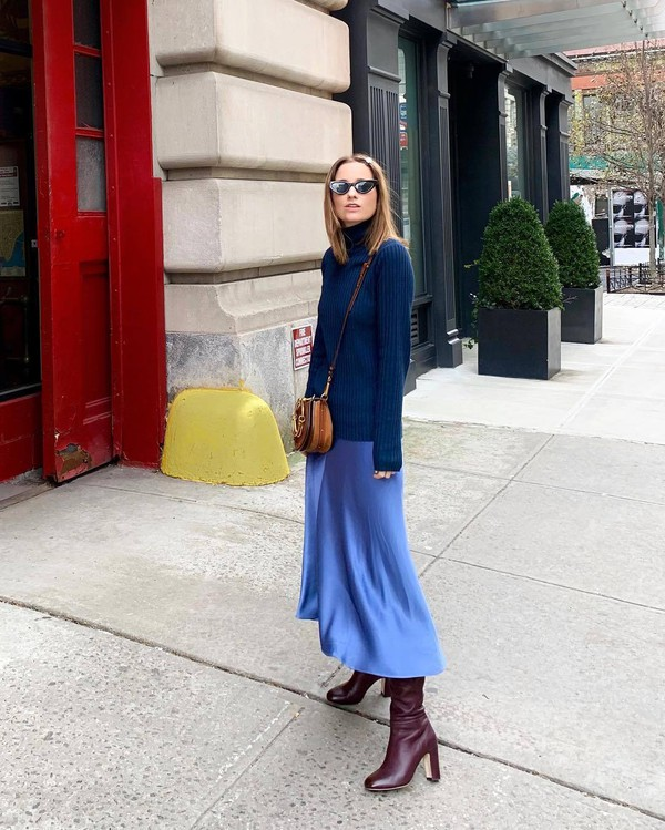 skirt midi skirt satin blue skirt heel boots knee high boots blue sweater brown bag crossbody bag turtleneck sweater