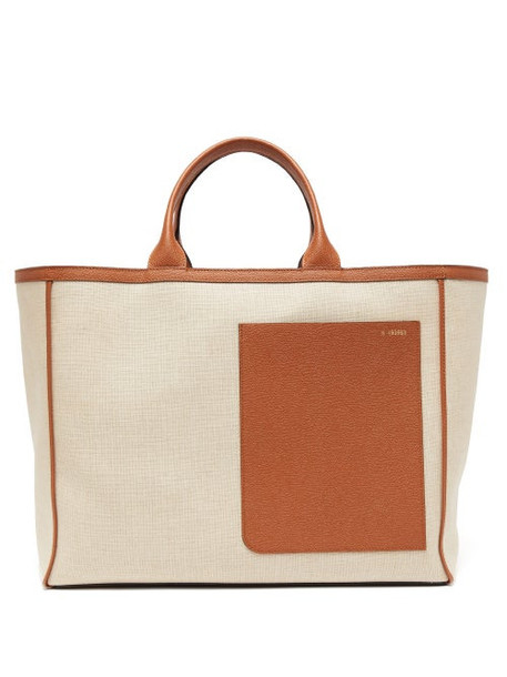 Valextra - Shopping Large Canvas And Leather Tote Bag - Womens - Beige Multi