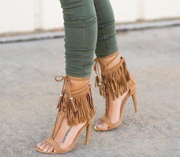 shoes fringed heels strappy heels