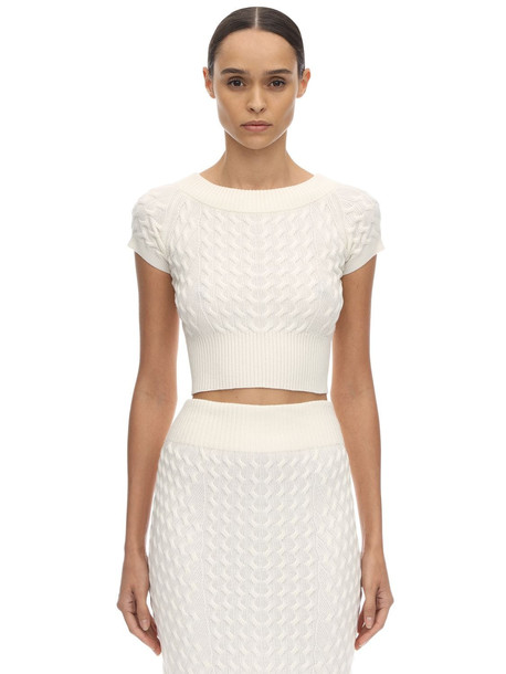 ALEXANDER MCQUEEN Off The Shoulder Wool Knit Waved Top in ivory