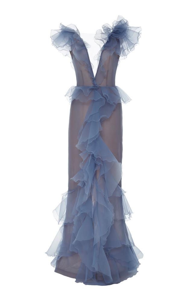 Marchesa V-Neck Organza Gown in purple
