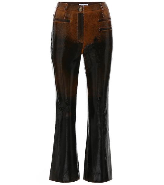Rejina Pyo Maeve laminated wool pants in brown