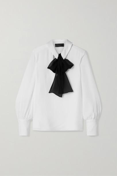 Nili Lotan - Leni Pussy-bow Silk-georgette Blouse - White