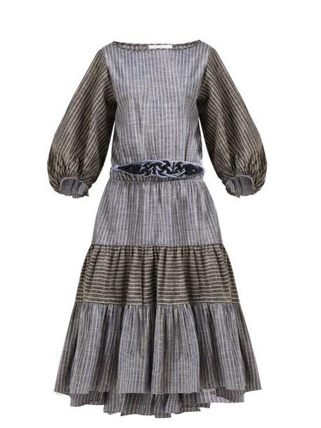 Love Binetti - Rhiannon Striped Tiered Cotton Dress - Womens - Blue