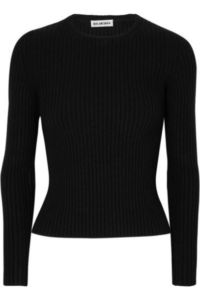 Balenciaga - Ribbed-knit Top - Black